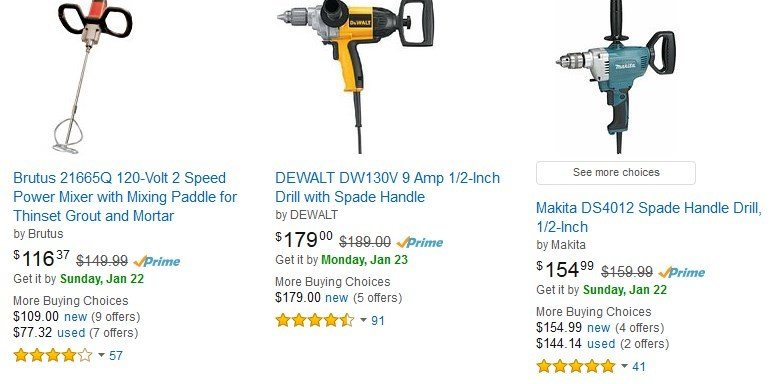 Mixing Drill Selection On Amazons Website